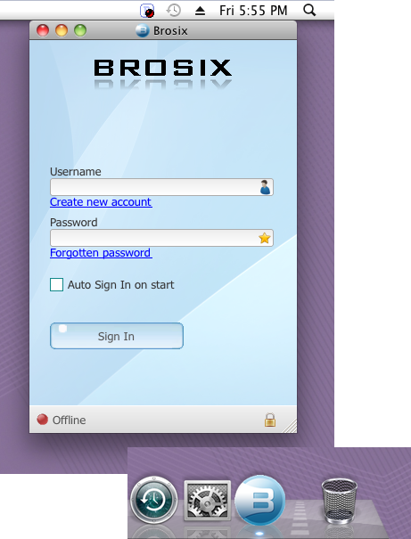 Brosix application on Mac screen, along with the icon in both the dock and the menu bar.