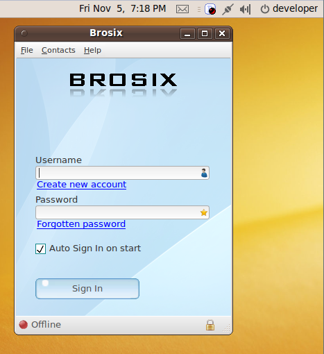 Brosix application on Linux screen, along with the icon in the menu bar.
