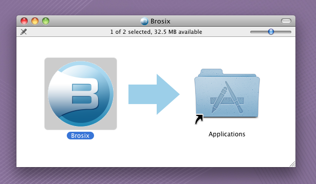 Mounted Brosix.dmg. Drag Brosix icon to Applications folder.