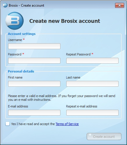 Add new user from Brosix application