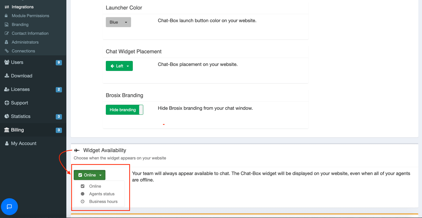 widget availability