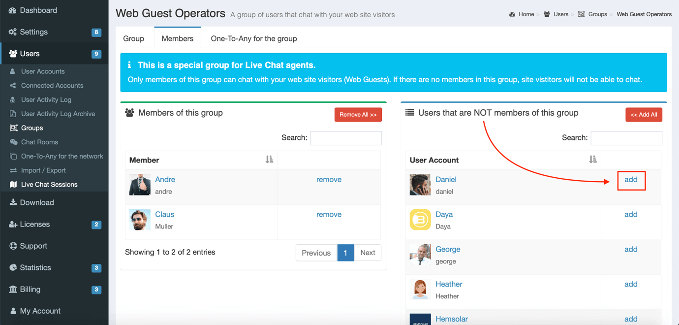 add live chat agents