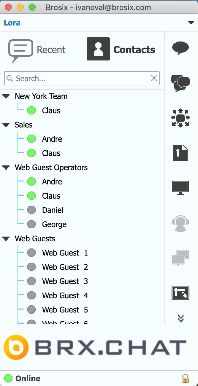 Brosix Agents contact list