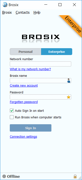 Brosix-login-form