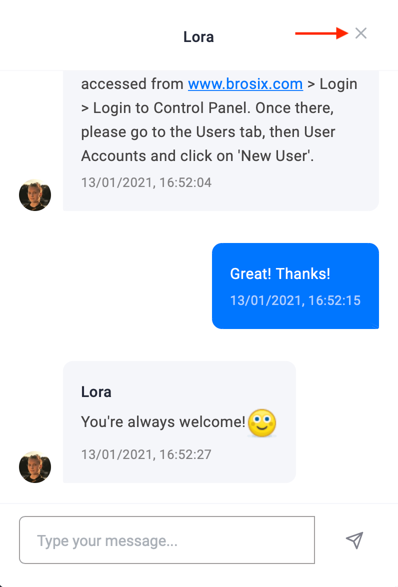 Close live chat session