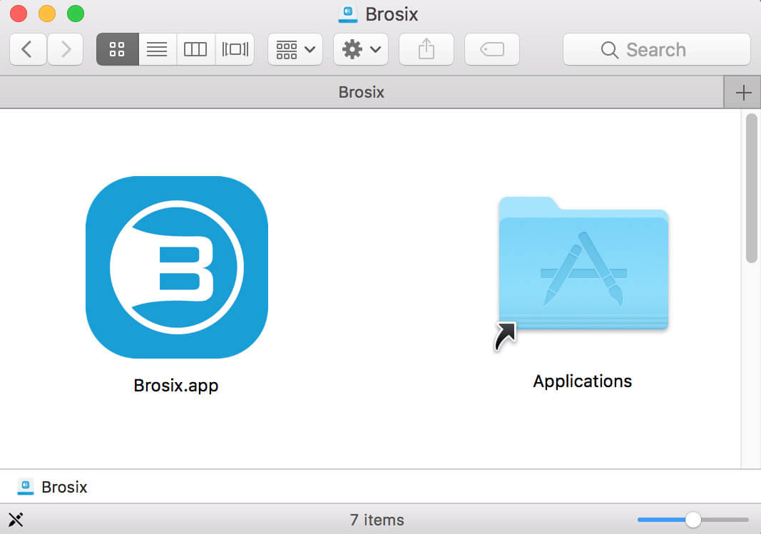 Brosix application on Mac screen, along with the icon in both the dock and the menu bar