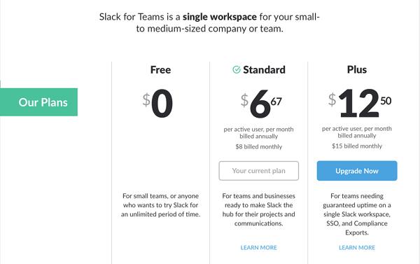Slack pricing