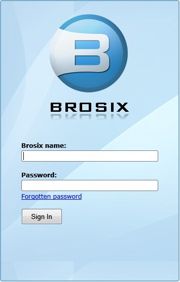 Brosix Web Client SignIn screen